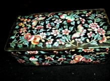 OLD CHINESE ENAMELLED HANDPAINTED COPPER/BRASS OBLONG BOX BUTTERFLIES BLOSSOMS